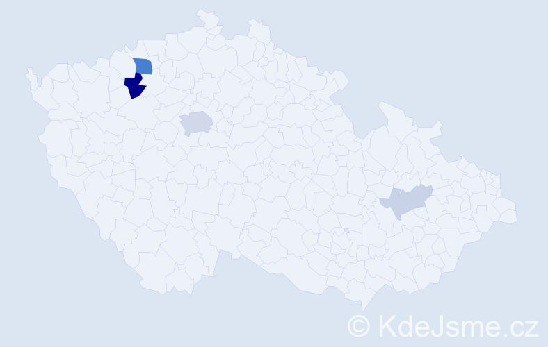 Příjmení: 'Dérerová', počet výskytů 13 v celé ČR