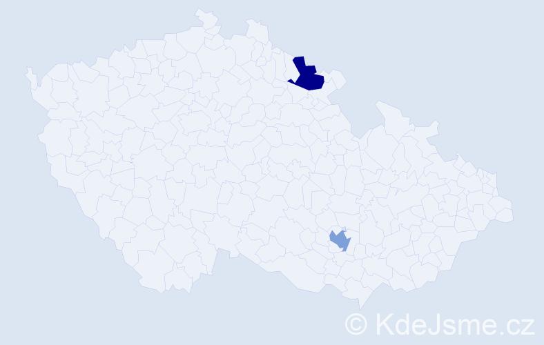 Příjmení: 'Hargitaiová', počet výskytů 2 v celé ČR