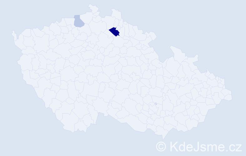 Příjmení: 'Bordašová', počet výskytů 4 v celé ČR