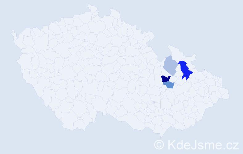 Příjmení: 'Haizner', počet výskytů 7 v celé ČR