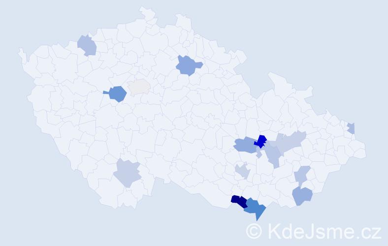 Příjmení: 'Ivánová', počet výskytů 20 v celé ČR