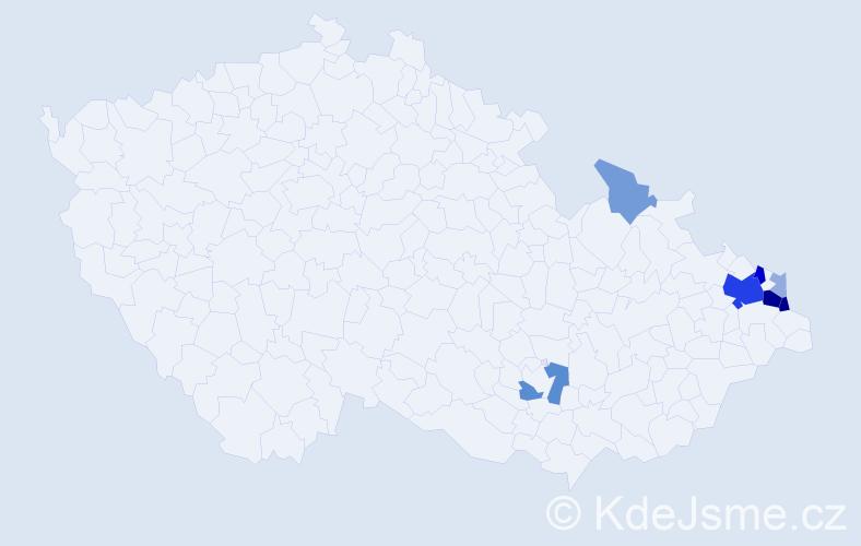 Příjmení: 'Aniol', počet výskytů 24 v celé ČR