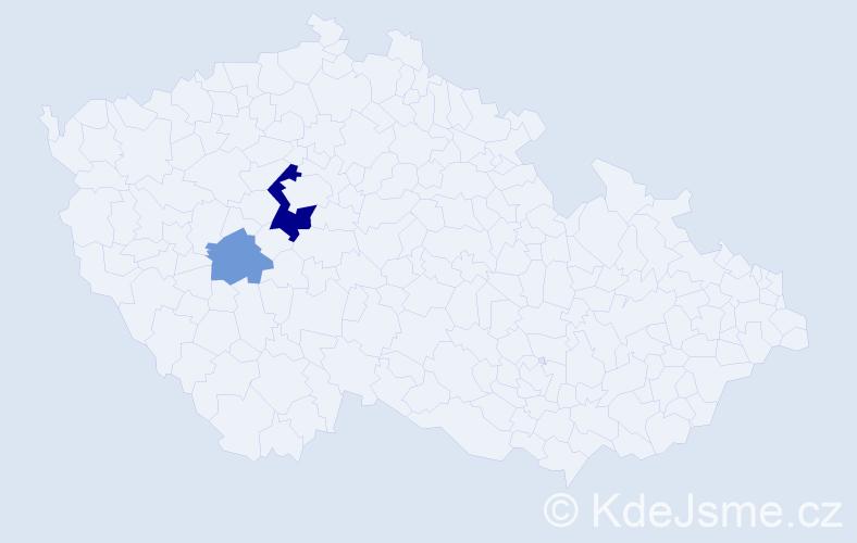 Příjmení: 'Economou', počet výskytů 5 v celé ČR
