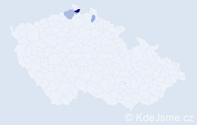Příjmení: 'Kilak', počet výskytů 4 v celé ČR