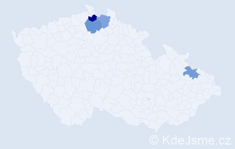 Příjmení: 'Germanič', počet výskytů 4 v celé ČR