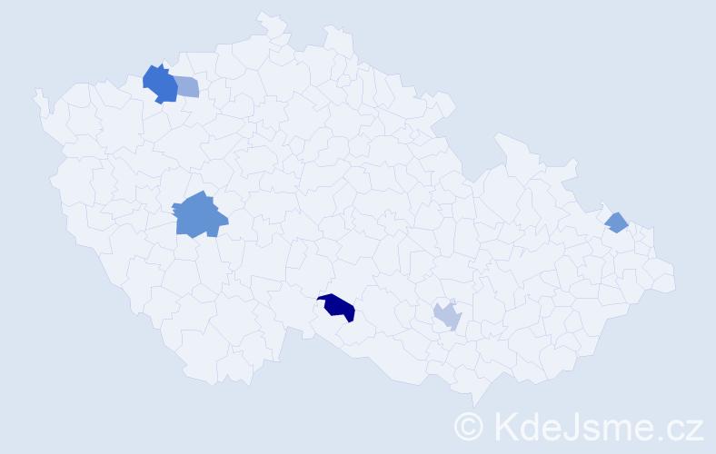 Příjmení: 'Chambers', počet výskytů 10 v celé ČR