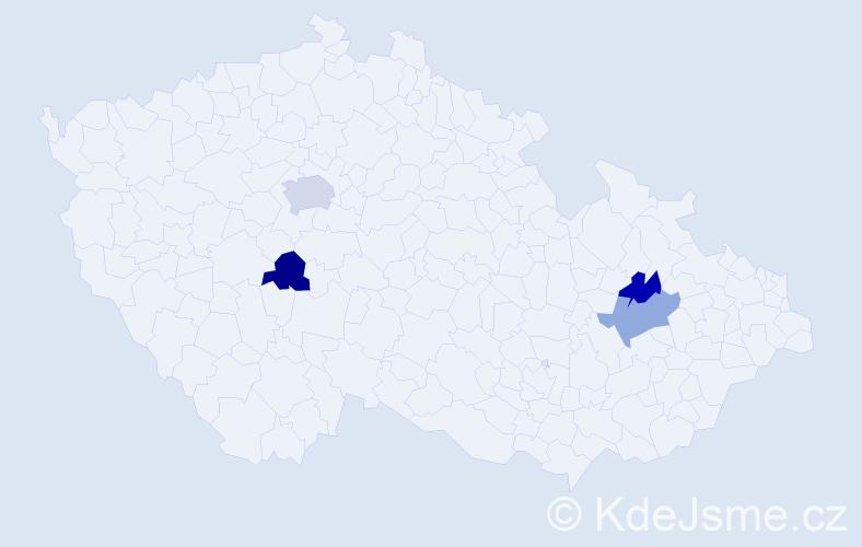 Příjmení: 'Bottka', počet výskytů 5 v celé ČR