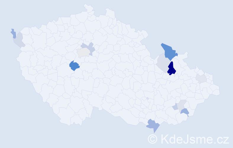 Příjmení: 'Babčák', počet výskytů 30 v celé ČR