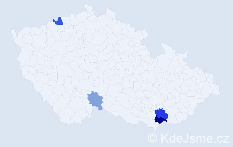 Příjmení: 'Jaštíková', počet výskytů 11 v celé ČR