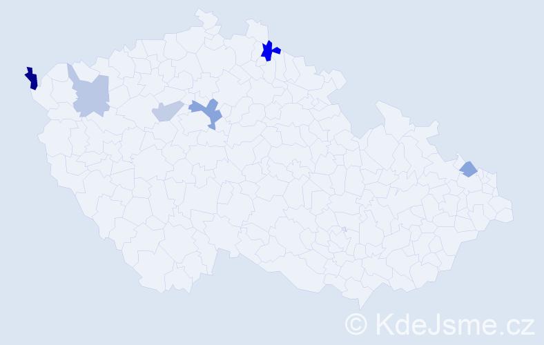 Příjmení: 'Bajcárová', počet výskytů 9 v celé ČR