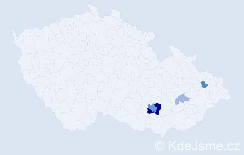 Příjmení: 'Čandrlová', počet výskytů 14 v celé ČR