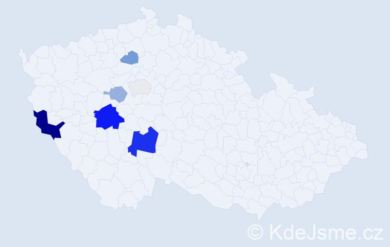 Příjmení: 'Dikan', počet výskytů 17 v celé ČR