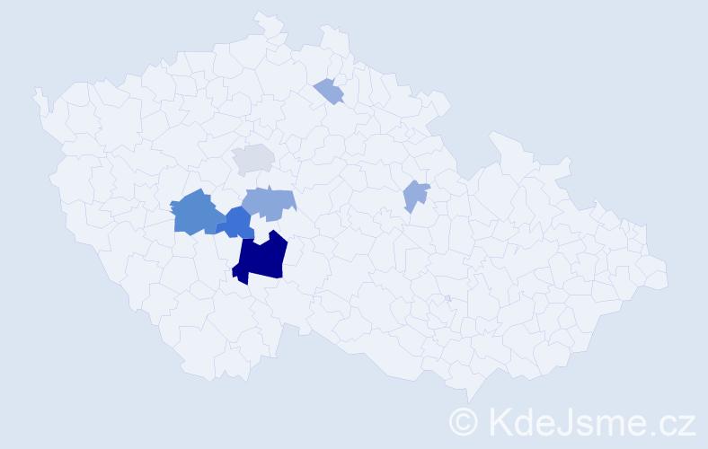 Příjmení: 'Turnovec', počet výskytů 28 v celé ČR