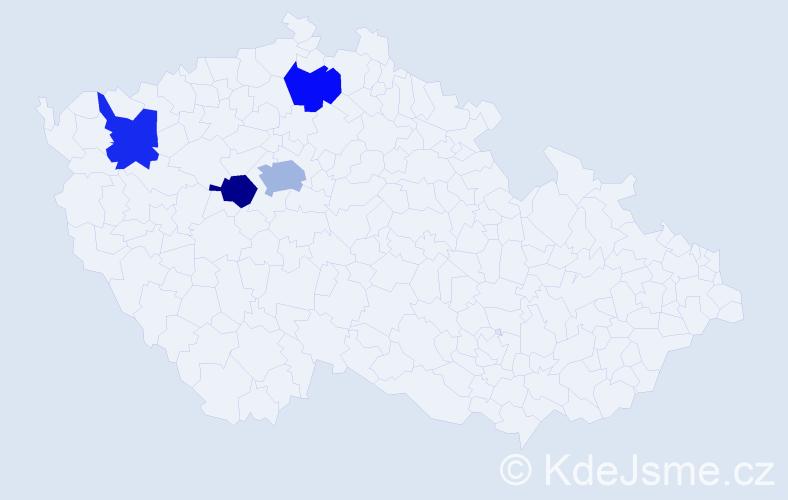 Příjmení: 'Knápová', počet výskytů 5 v celé ČR