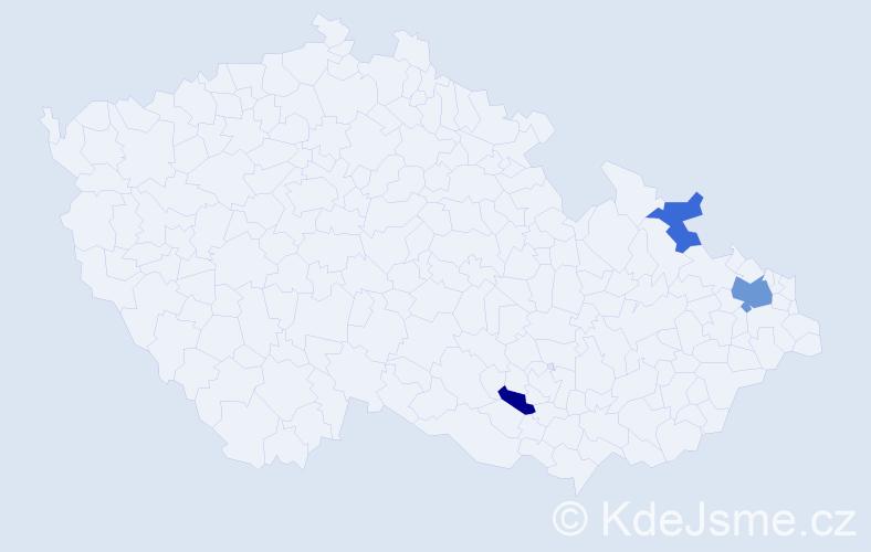 Příjmení: 'Antecká', počet výskytů 5 v celé ČR