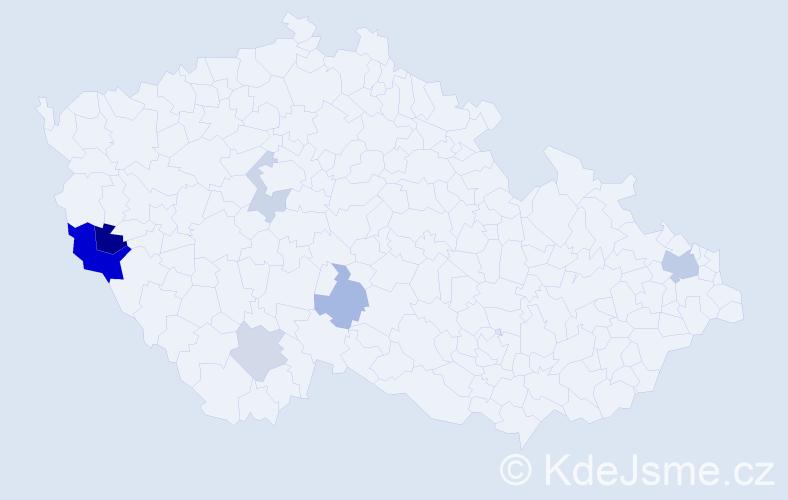 Příjmení: 'Jakubšová', počet výskytů 13 v celé ČR