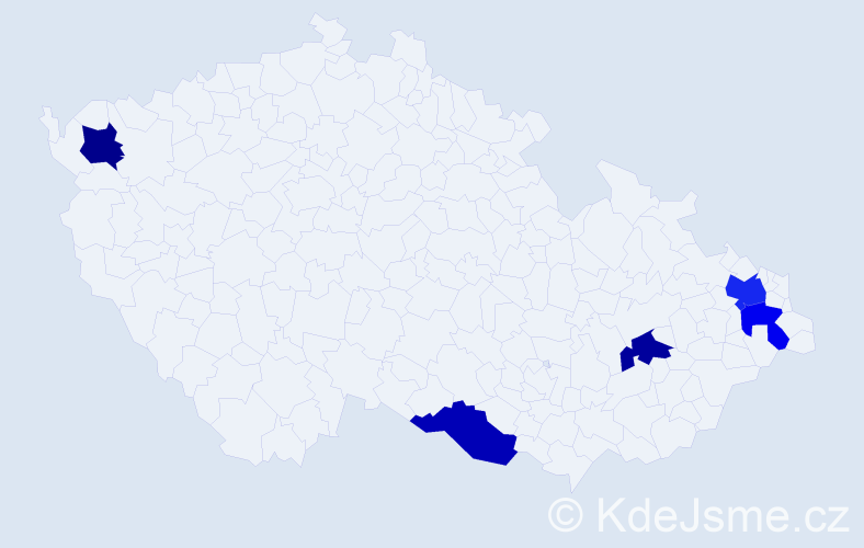 Příjmení: 'Hajek', počet výskytů 6 v celé ČR