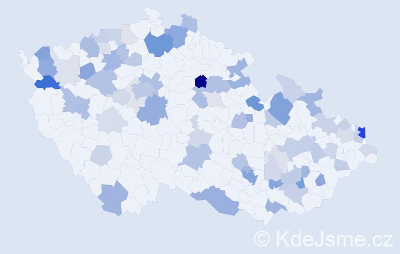 Příjmení: 'Bieliková', počet výskytů 181 v celé ČR