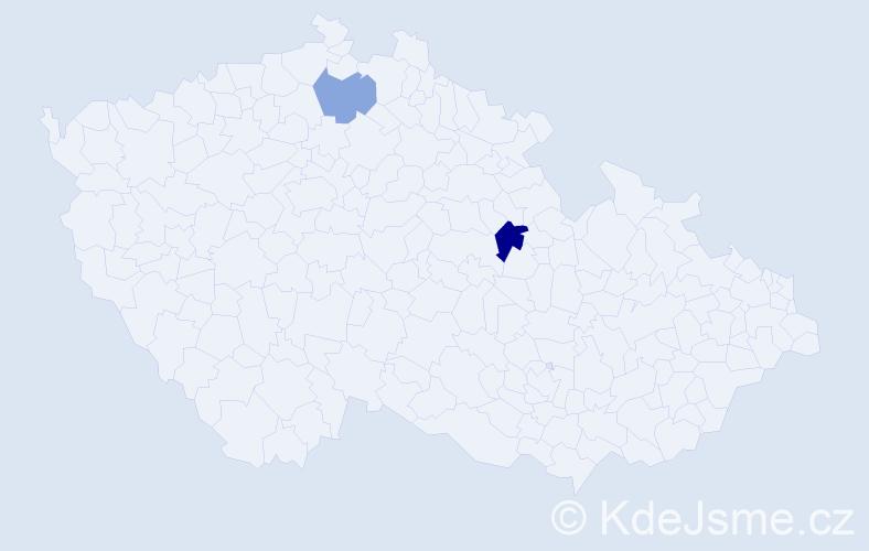 Příjmení: 'Kotrik', počet výskytů 3 v celé ČR