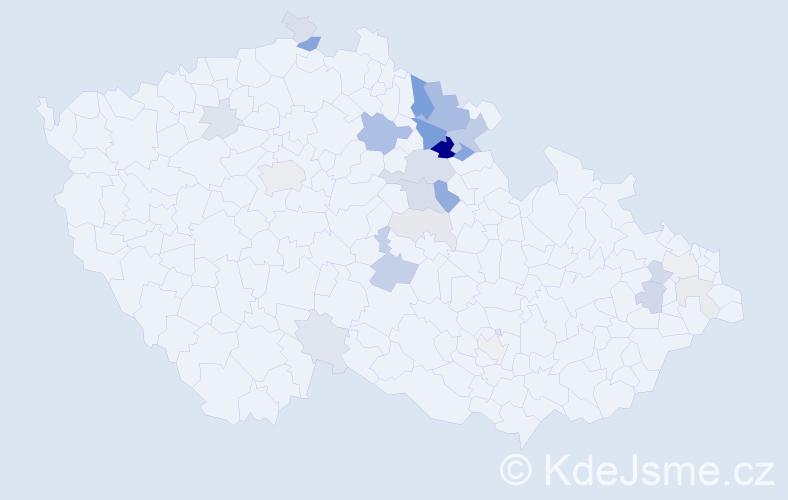 Příjmení: 'Exnar', počet výskytů 68 v celé ČR