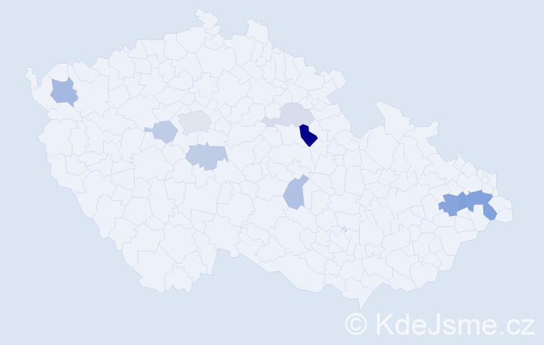 Příjmení: 'Lapčáková', počet výskytů 21 v celé ČR