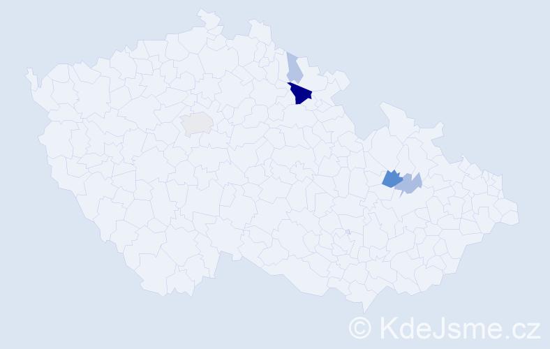 Příjmení: 'Klejšmíd', počet výskytů 16 v celé ČR