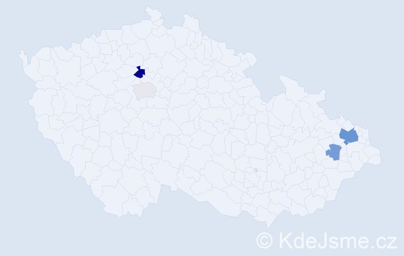 Příjmení: 'Husťák', počet výskytů 9 v celé ČR
