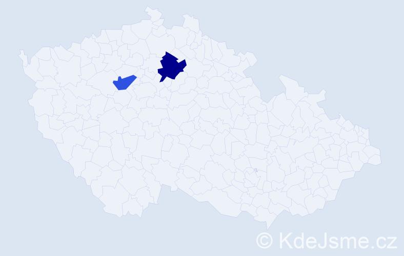 Příjmení: 'Aguado', počet výskytů 5 v celé ČR