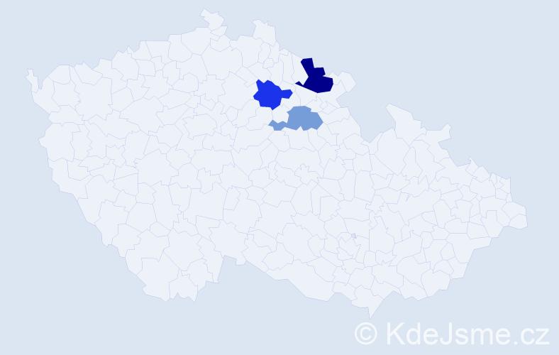 Příjmení: 'Kandrtová', počet výskytů 4 v celé ČR