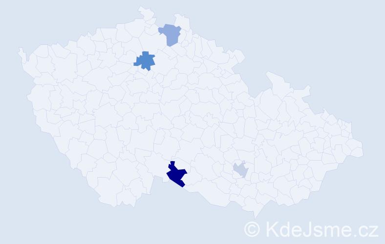 Příjmení: 'Dolezal', počet výskytů 4 v celé ČR