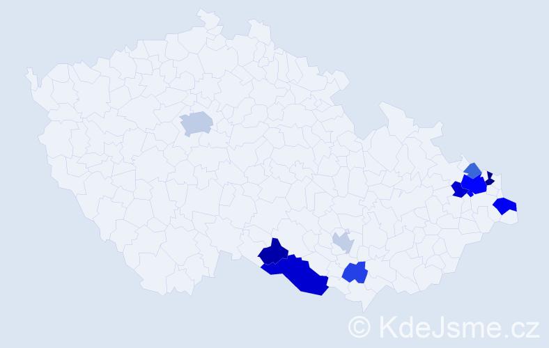 Příjmení: 'Kapičáková', počet výskytů 22 v celé ČR