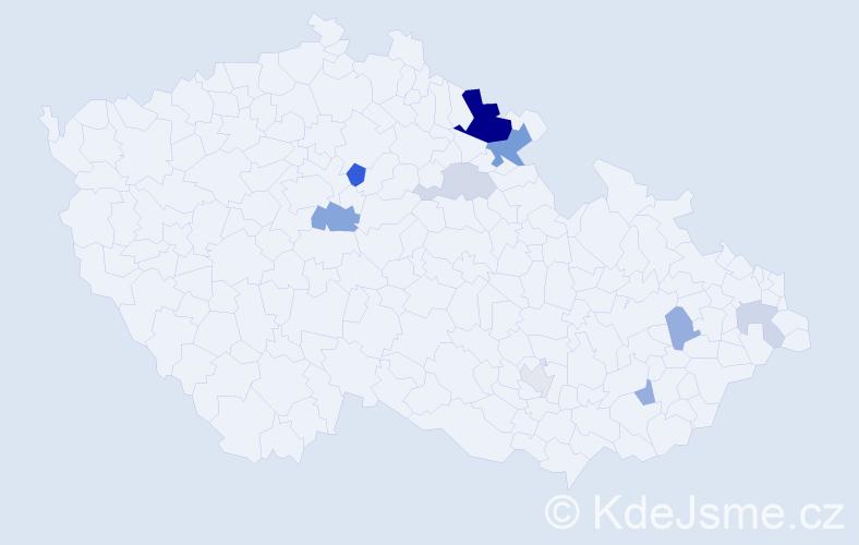 Příjmení: 'Galuščáková', počet výskytů 22 v celé ČR