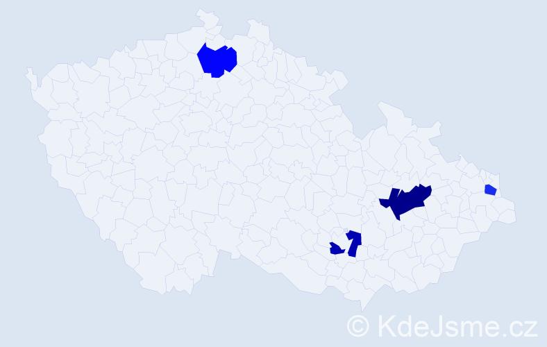 Příjmení: 'Častková', počet výskytů 5 v celé ČR
