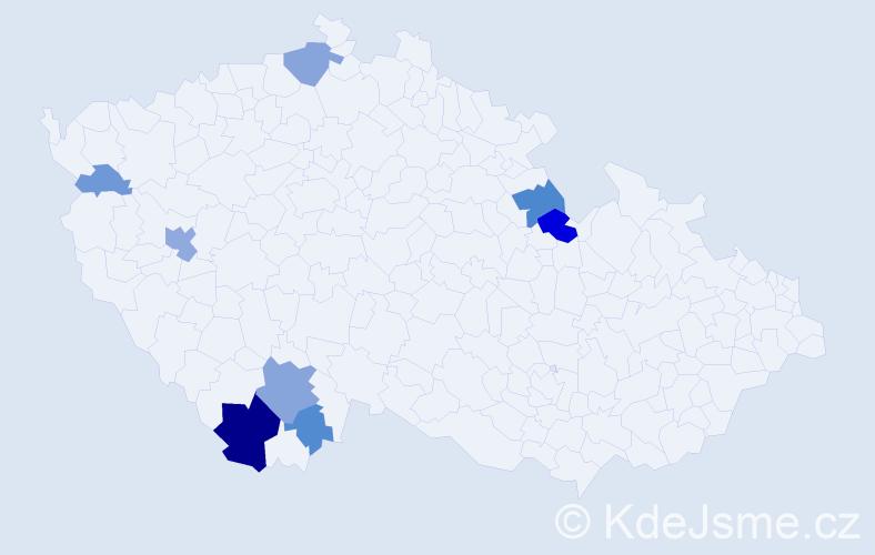 Příjmení: 'Hommer', počet výskytů 20 v celé ČR