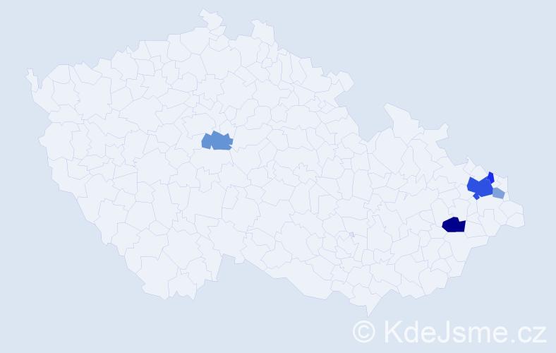 Příjmení: 'Kuchno', počet výskytů 11 v celé ČR