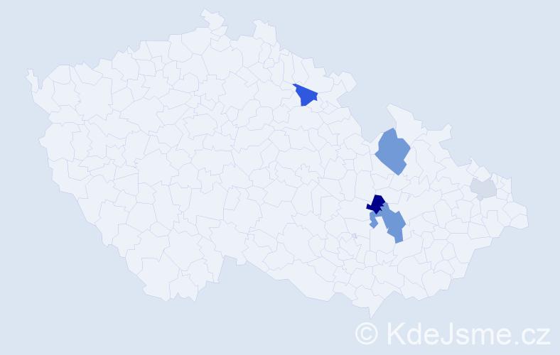 Příjmení: 'Hajnyš', počet výskytů 16 v celé ČR