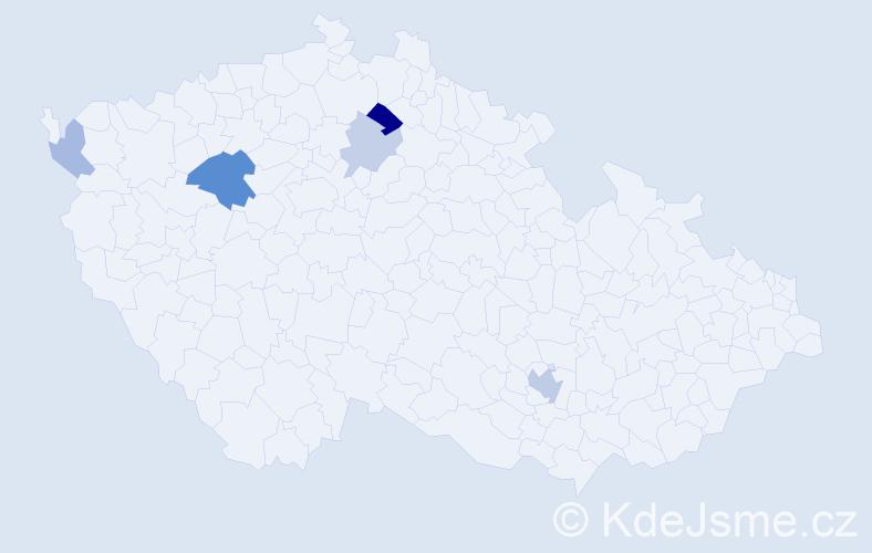 Příjmení: 'Čečelský', počet výskytů 10 v celé ČR
