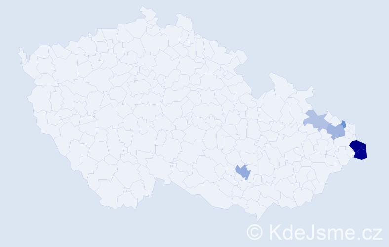 Příjmení: 'Cwik', počet výskytů 16 v celé ČR