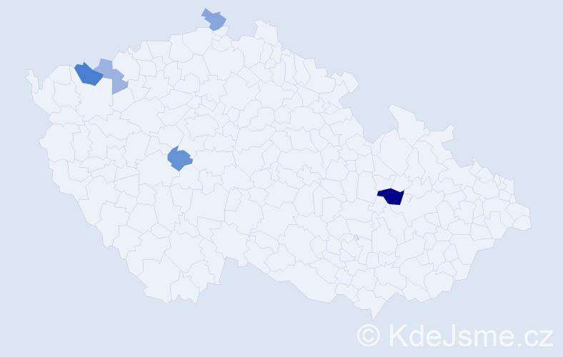 Příjmení: 'Habermanová', počet výskytů 8 v celé ČR