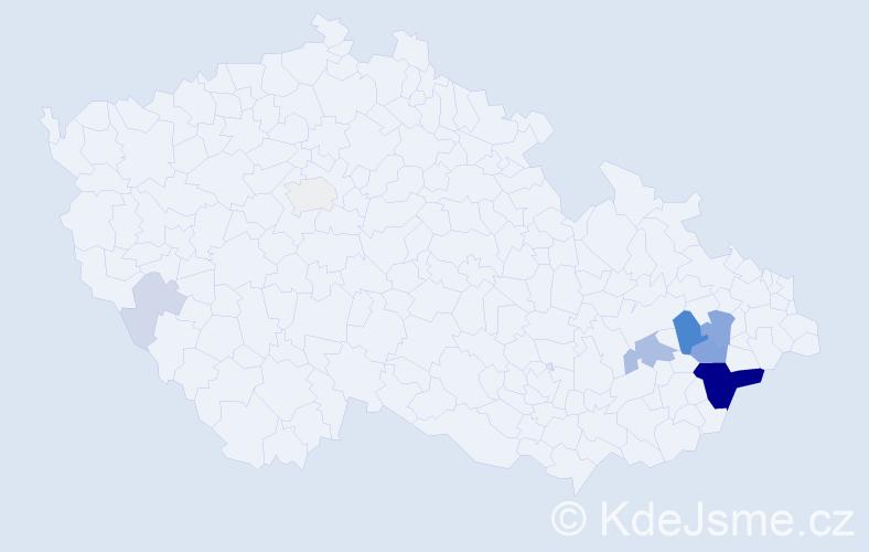 Příjmení: 'Halmazňa', počet výskytů 35 v celé ČR