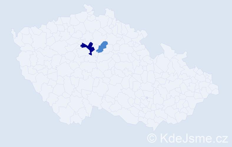 Příjmení: 'Lefter', počet výskytů 5 v celé ČR