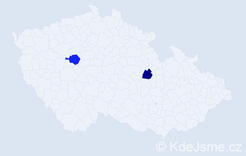 Příjmení: 'Lebarová', počet výskytů 5 v celé ČR