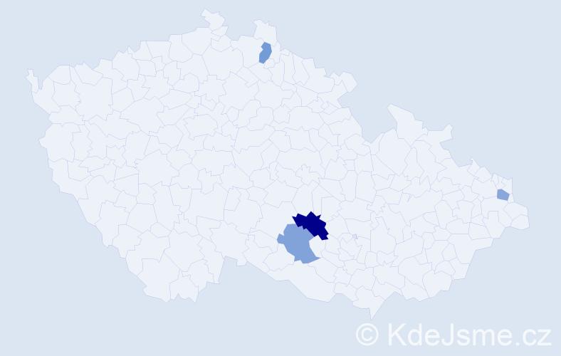 Příjmení: 'Jaseňák', počet výskytů 5 v celé ČR
