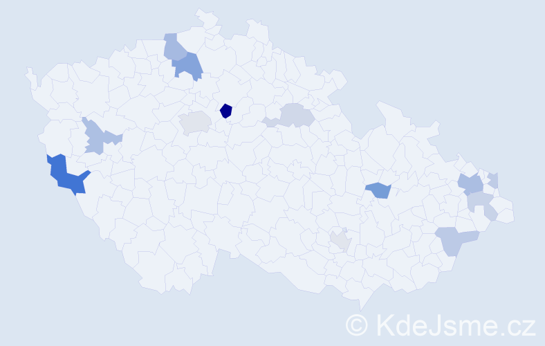 Příjmení: 'Hanuska', počet výskytů 24 v celé ČR