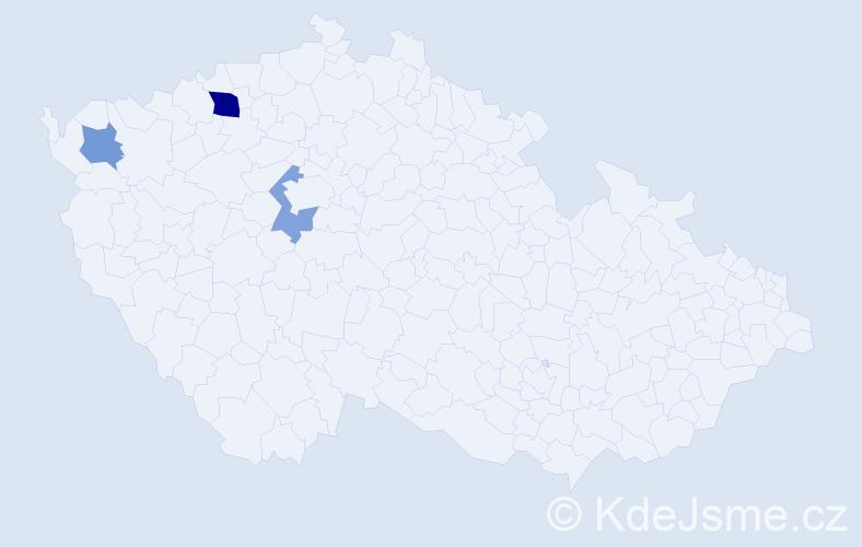 Příjmení: 'Bansetová', počet výskytů 5 v celé ČR