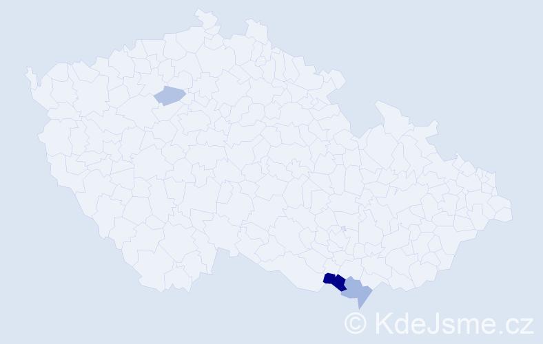 Příjmení: 'Čúlen', počet výskytů 7 v celé ČR