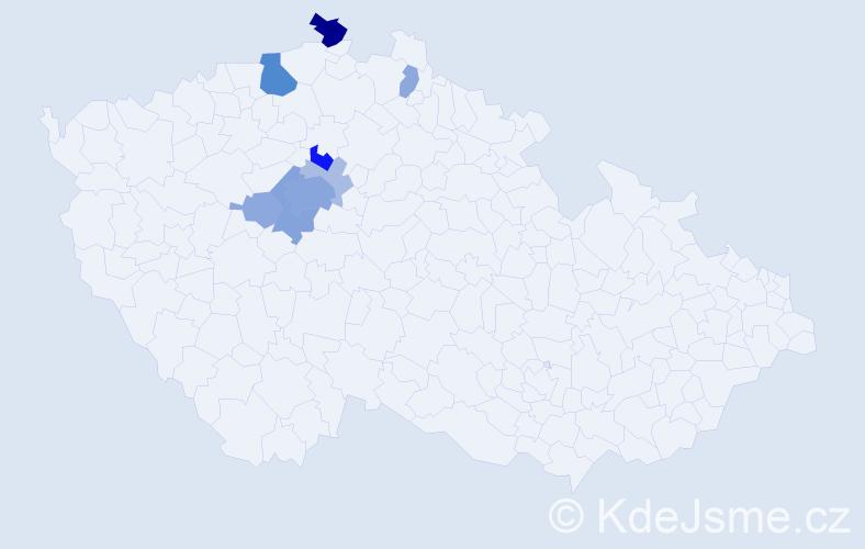Příjmení: 'Kašek', počet výskytů 27 v celé ČR