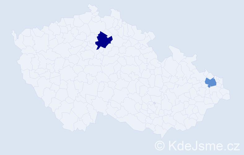 Příjmení: 'Godfrýd', počet výskytů 2 v celé ČR
