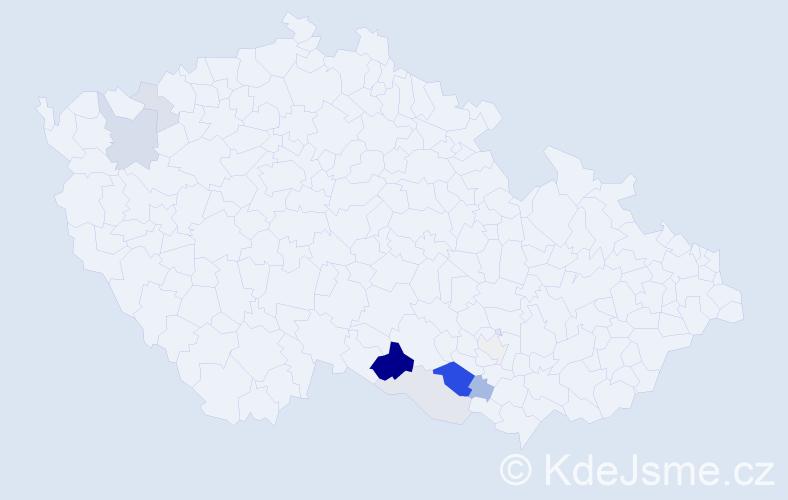 Příjmení: 'Klejdus', počet výskytů 25 v celé ČR