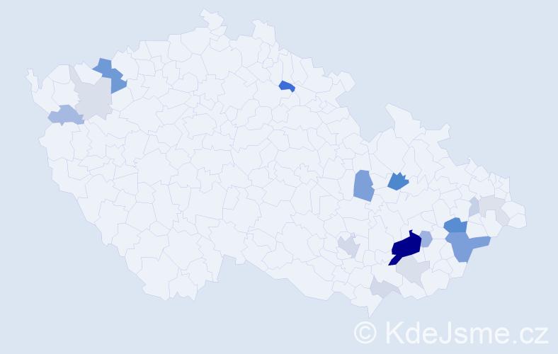 Příjmení: 'Bazalková', počet výskytů 50 v celé ČR